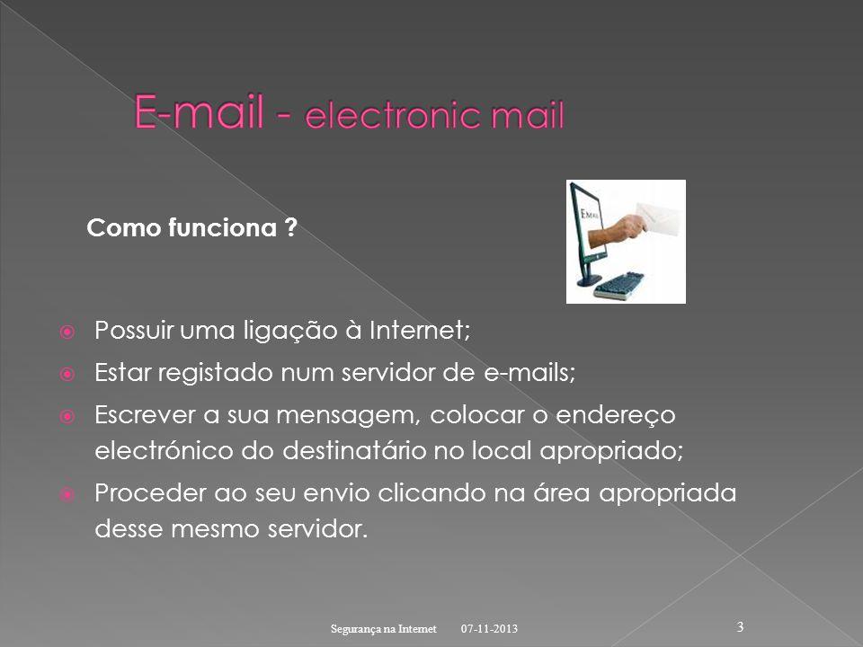 Como funciona ? Possuir uma ligação à Internet; Estar registado num servidor de e-mails; Escrever a sua mensagem, colocar o endereço electrónico do de