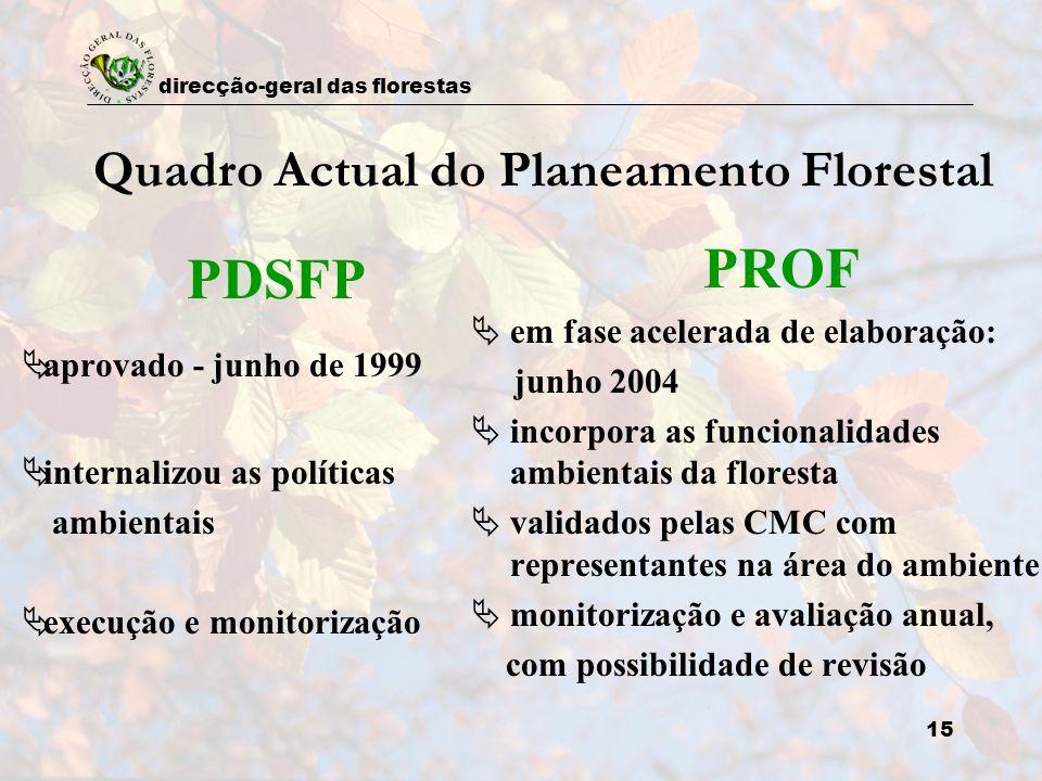 direcção-geral das florestas 15 Quadro Actual do Planeamento Florestal PDSFP aprovado - junho de 1999 internalizou as políticas ambientais execução e