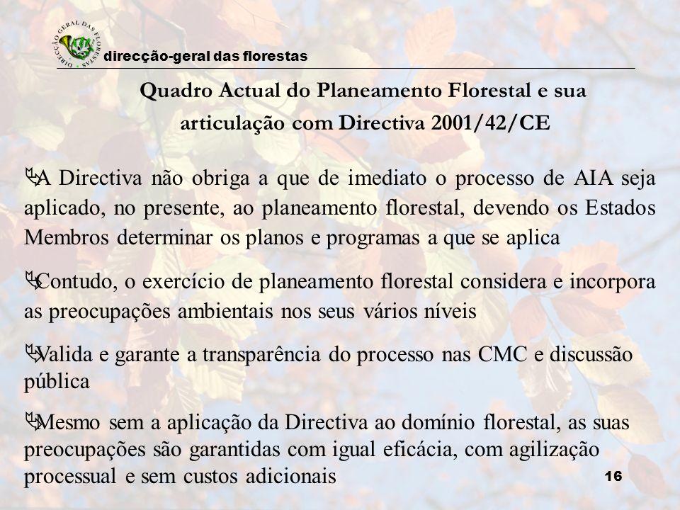 direcção-geral das florestas 16 Quadro Actual do Planeamento Florestal e sua articulação com Directiva 2001/42/CE A Directiva não obriga a que de imed
