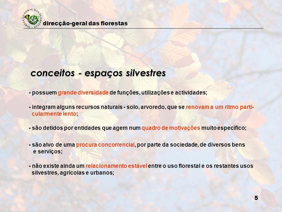 direcção-geral das florestas 6 aplicação consequente das políticas, no sentido de assegurar, à perpetuidade, a fruição dos benefícios florestais e dos recursos silvestres por parte de toda a sociedade conceito de planeamento florestal sistema de planeamento florestal