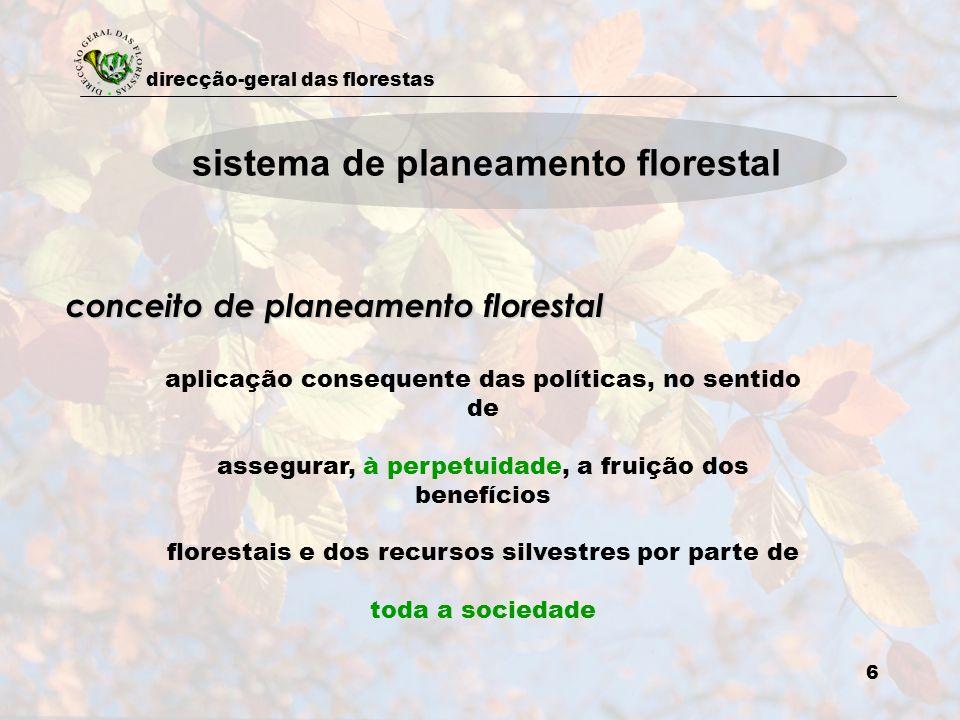 direcção-geral das florestas 6 aplicação consequente das políticas, no sentido de assegurar, à perpetuidade, a fruição dos benefícios florestais e dos