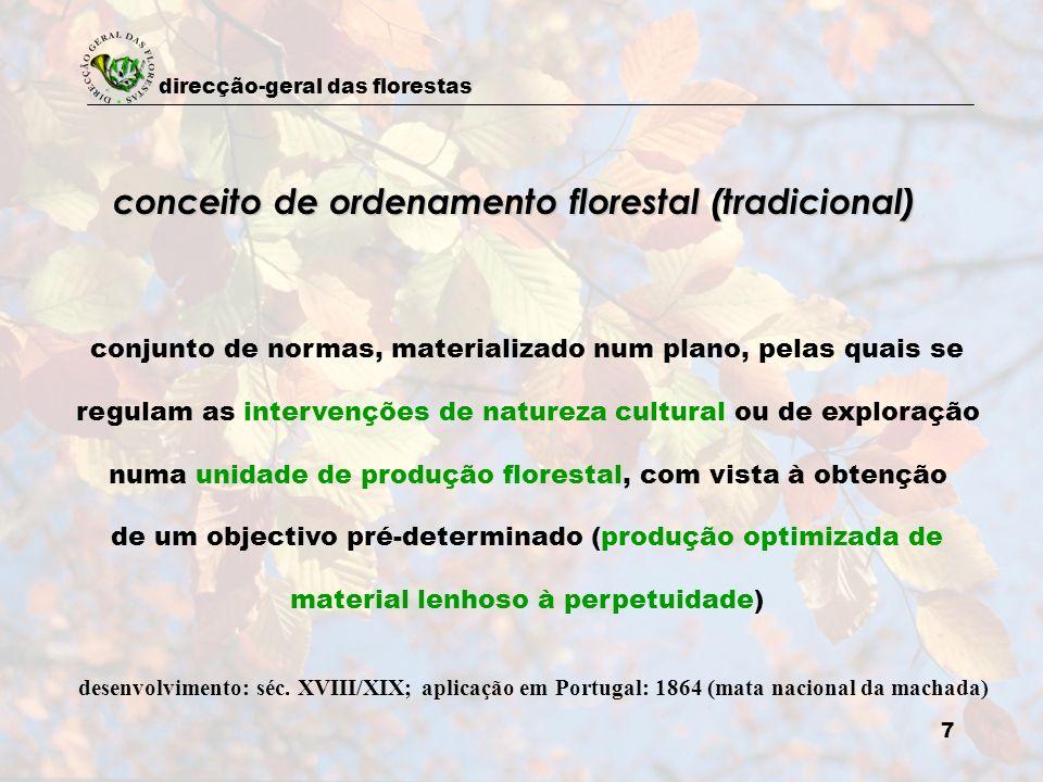 direcção-geral das florestas 7 conceito de ordenamento florestal (tradicional) conjunto de normas, materializado num plano, pelas quais se regulam as