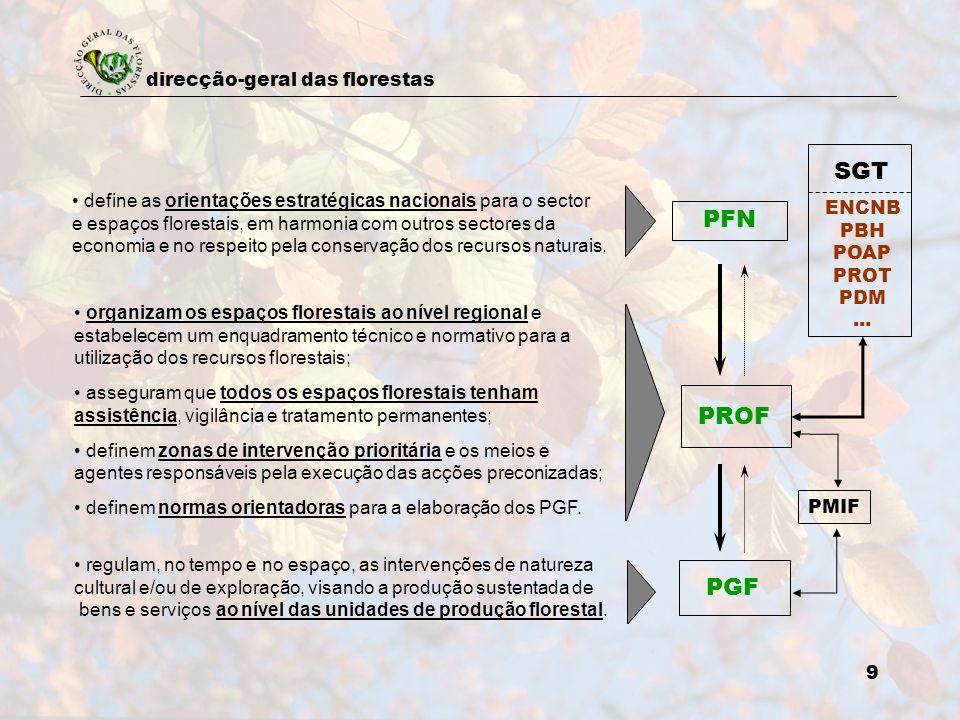 direcção-geral das florestas 9 PFN PROF PGF ENCNB PBH POAP PROT PDM... SGT define as orientações estratégicas nacionais para o sector e espaços flores