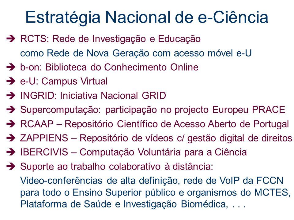 Estratégia Nacional de e-Ciência RCTS: Rede de Investigação e Educação como Rede de Nova Geração com acesso móvel e-U b-on: Biblioteca do Conhecimento
