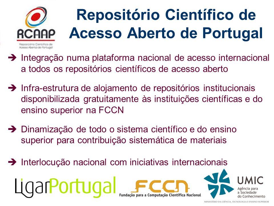 Repositório Científico de Acesso Aberto de Portugal Integração numa plataforma nacional de acesso internacional a todos os repositórios científicos de