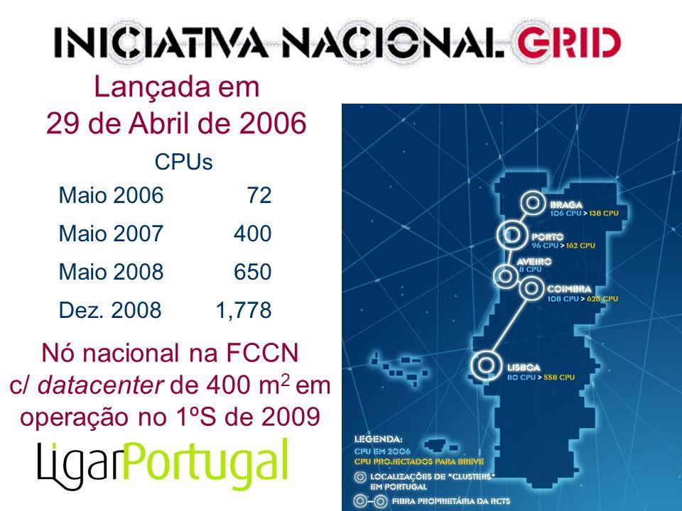 CPUs Maio 200672 Maio 2007 400 Maio 2008 650 Dez. 2008 1,778 Lançada em 29 de Abril de 2006 Nó nacional na FCCN c/ datacenter de 400 m 2 em operação n
