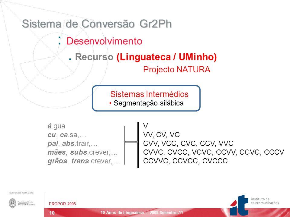 10 PROPOR 2008 10 Anos de Linguateca – 2008.Setembro.11 Sistema de Conversão Gr2Ph : Desenvolvimento.