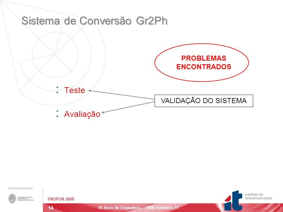 14 PROPOR 2008 10 Anos de Linguateca – 2008.Setembro.11 Sistema de Conversão Gr2Ph : Teste : Avaliação VALIDAÇÃO DO SISTEMA PROBLEMAS ENCONTRADOS