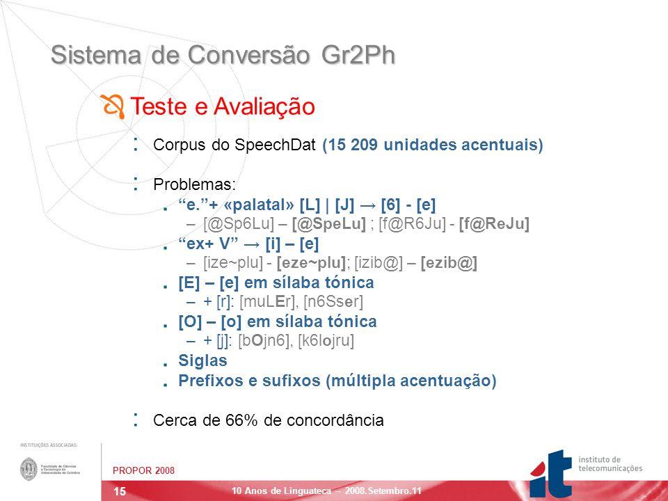 15 PROPOR 2008 10 Anos de Linguateca – 2008.Setembro.11 Sistema de Conversão Gr2Ph : Corpus do SpeechDat (15 209 unidades acentuais) : Problemas:.