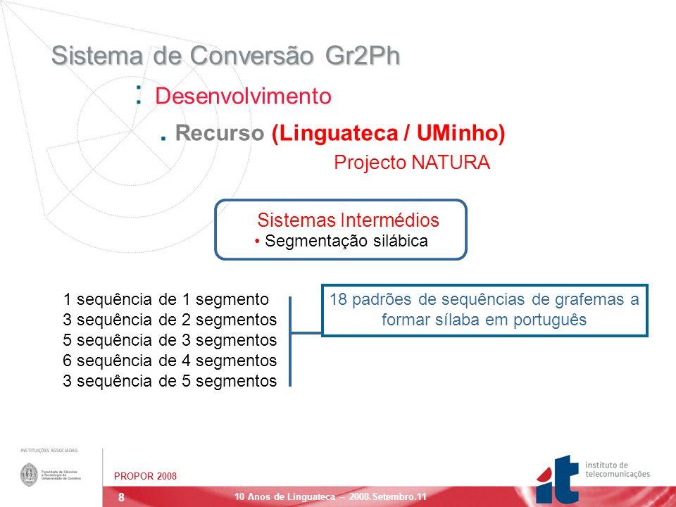 9 PROPOR 2008 10 Anos de Linguateca – 2008.Setembro.11 Sistema de Conversão Gr2Ph : Desenvolvimento.
