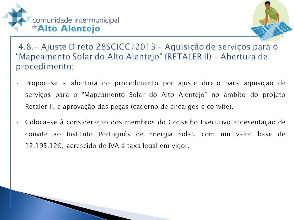 Propõe-se a abertura do procedimento por ajuste direto para aquisição de serviços para o Mapeamento Solar do Alto Alentejo no âmbito do projeto Retale