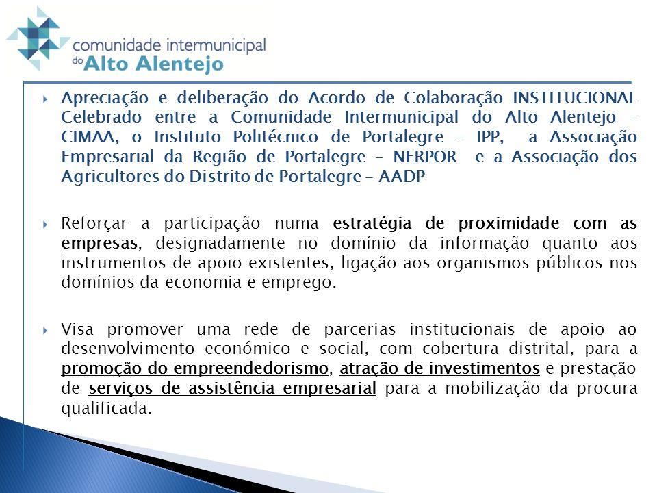 Apreciação e deliberação do Acordo de Colaboração INSTITUCIONAL Celebrado entre a Comunidade Intermunicipal do Alto Alentejo – CIMAA, o Instituto Poli