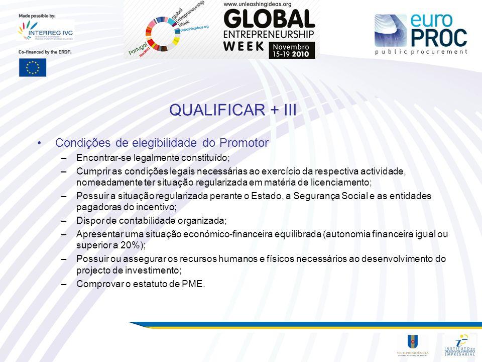 QUALIFICAR + III Condições de elegibilidade do Promotor –Encontrar-se legalmente constituído; –Cumprir as condições legais necessárias ao exercício da