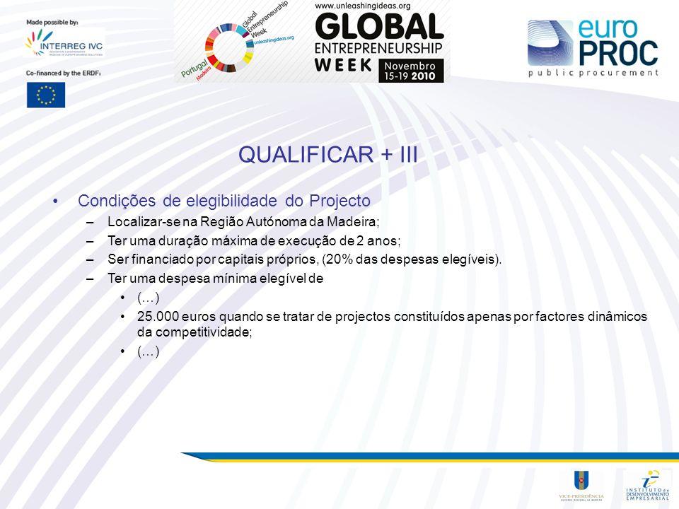 QUALIFICAR + III Condições de elegibilidade do Projecto –Localizar-se na Região Autónoma da Madeira; –Ter uma duração máxima de execução de 2 anos; –S