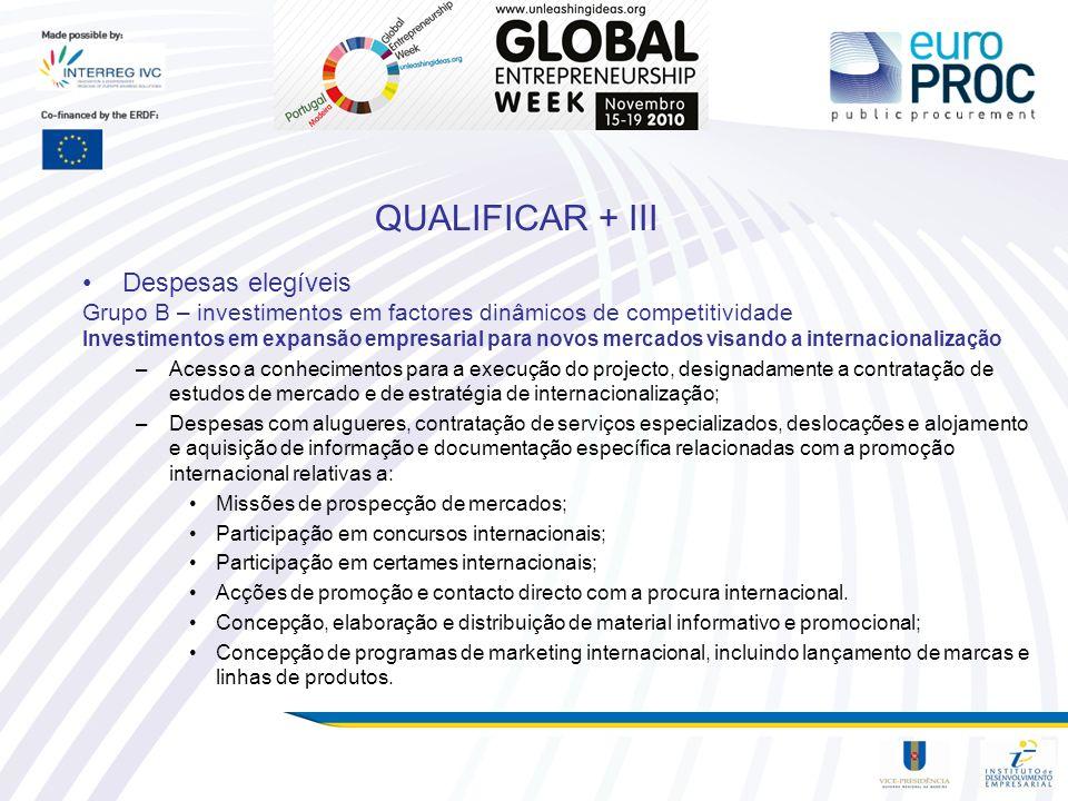 QUALIFICAR + III Despesas elegíveis Grupo B – investimentos em factores dinâmicos de competitividade Investimentos em expansão empresarial para novos