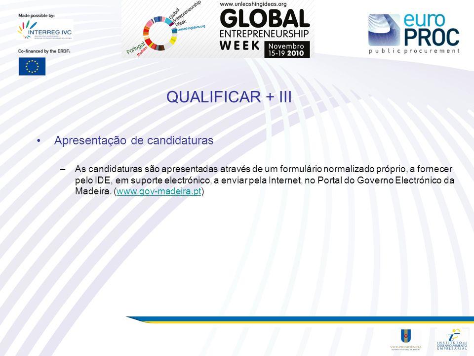 QUALIFICAR + III Apresentação de candidaturas –As candidaturas são apresentadas através de um formulário normalizado próprio, a fornecer pelo IDE, em