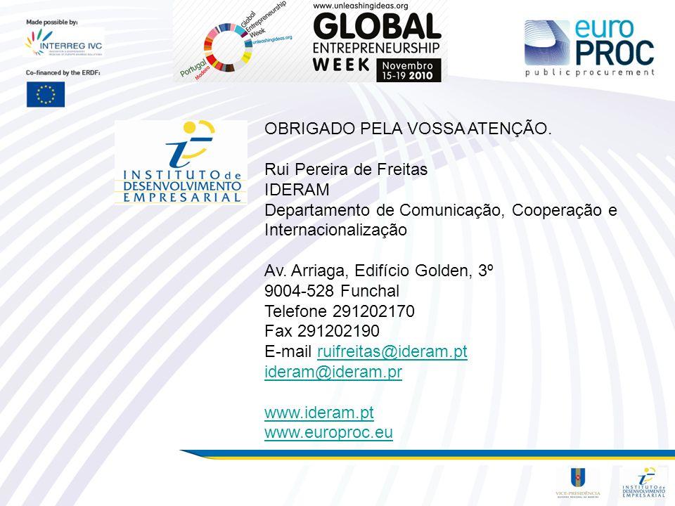 OBRIGADO PELA VOSSA ATENÇÃO. Rui Pereira de Freitas IDERAM Departamento de Comunicação, Cooperação e Internacionalização Av. Arriaga, Edifício Golden,