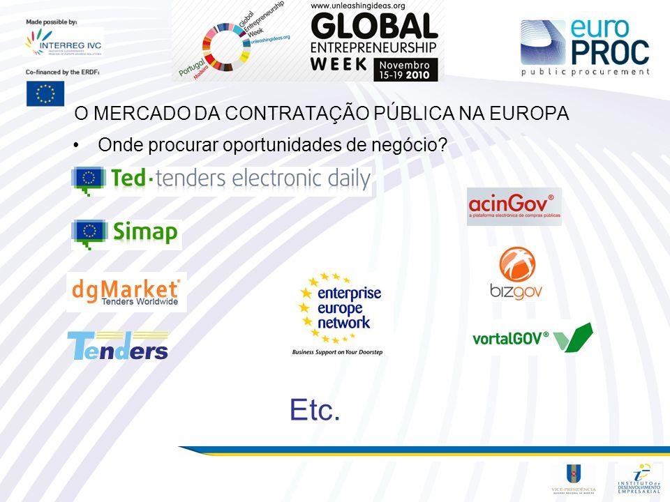 O MERCADO DA CONTRATAÇÃO PÚBLICA NA EUROPA Onde procurar oportunidades de negócio? Etc.