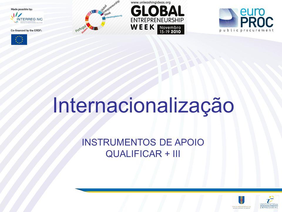INSTRUMENTOS DE APOIO QUALIFICAR + III Internacionalização