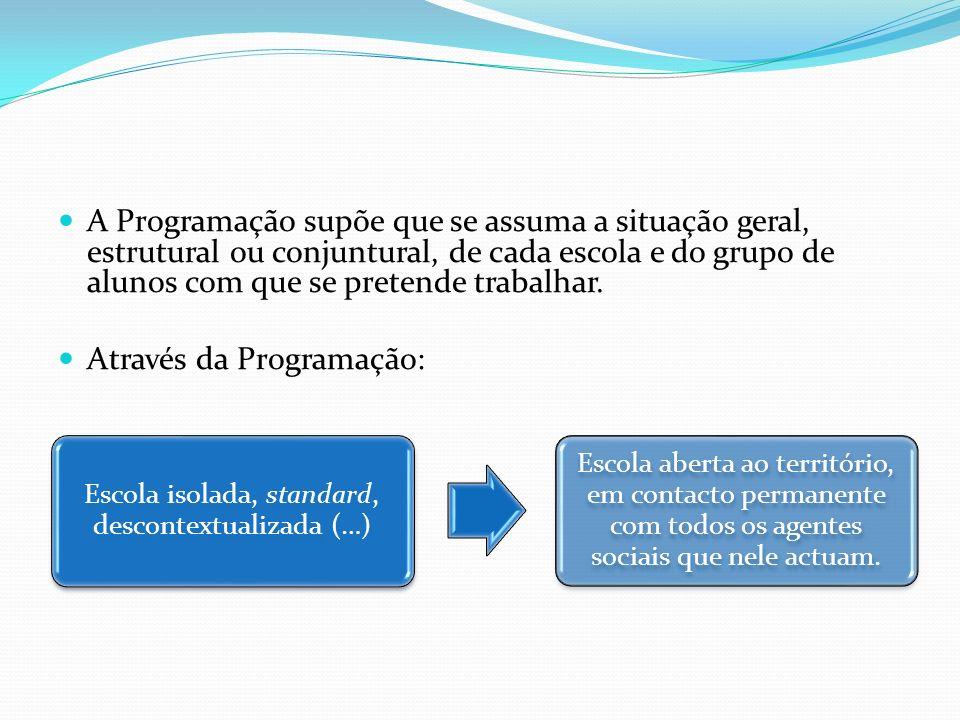 Programação significa abertura ao TERRITÓRIO Saber ligar intimamente as exigências a nível nacional (Programa) com os interesses locais e as características particulares de cada contexto sociocultural.