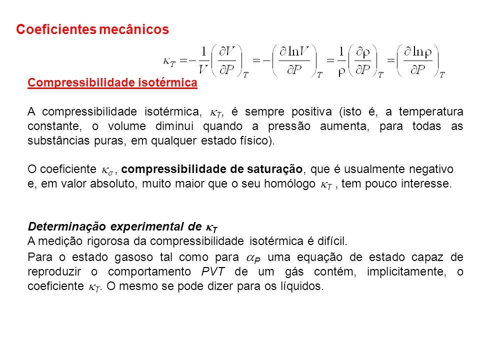 Compressibilidade isotérmica A compressibilidade isotérmica, T, é sempre positiva (isto é, a temperatura constante, o volume diminui quando a pressão