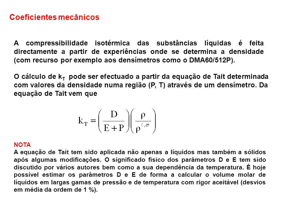 A compressibilidade isotérmica das substâncias líquidas é feita directamente a partir de experiências onde se determina a densidade (com recurso por e