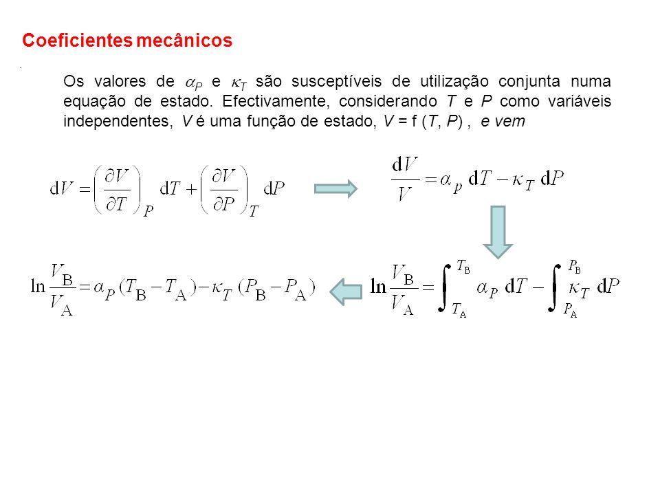 Os valores de P e T são susceptíveis de utilização conjunta numa equação de estado. Efectivamente, considerando T e P como variáveis independentes, V