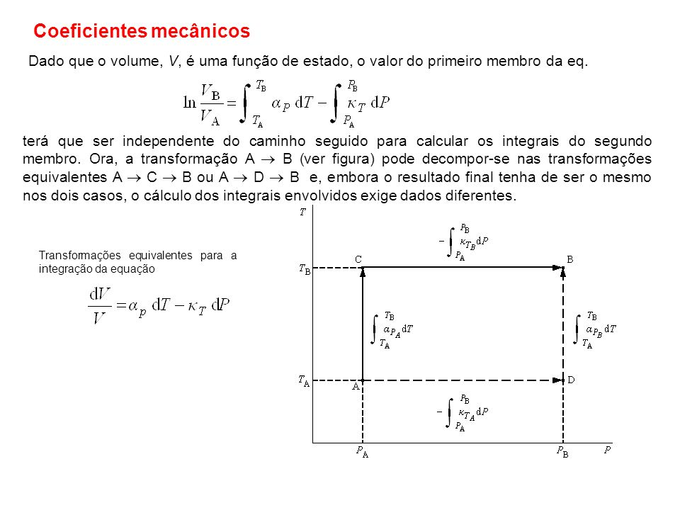 Dado que o volume, V, é uma função de estado, o valor do primeiro membro da eq. Transformações equivalentes para a integração da equação Coeficientes