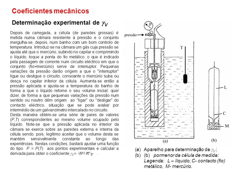 Determinação experimental de V Depois de carregada, a célula (de paredes grossas) é metida numa câmara resistente à pressão e o conjunto mergulha-se,