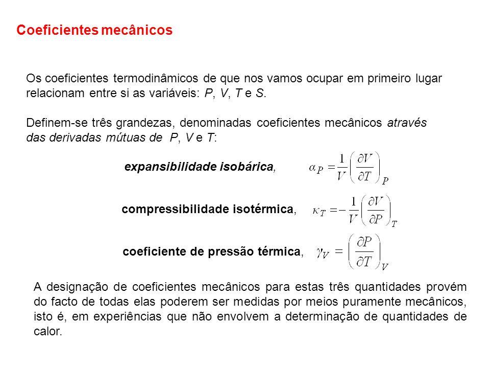 Os coeficientes termodinâmicos de que nos vamos ocupar em primeiro lugar relacionam entre si as variáveis: P, V, T e S. Definem-se três grandezas, den