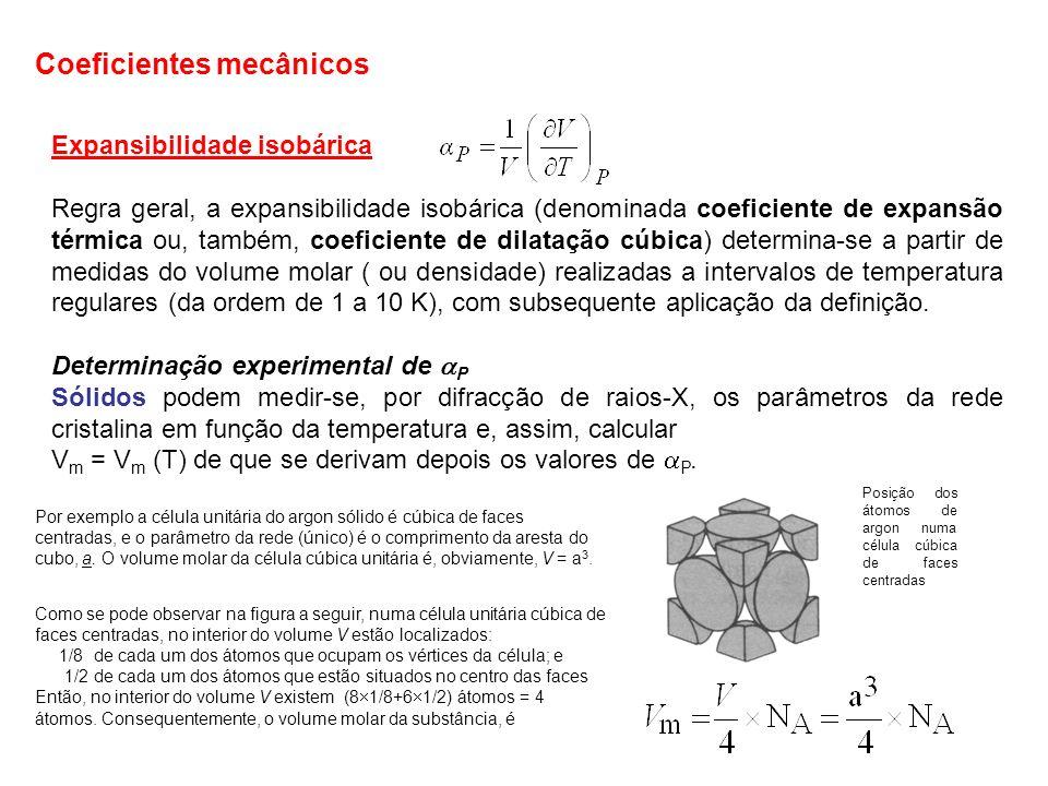 Expansibilidade isobárica Regra geral, a expansibilidade isobárica (denominada coeficiente de expansão térmica ou, também, coeficiente de dilatação cú