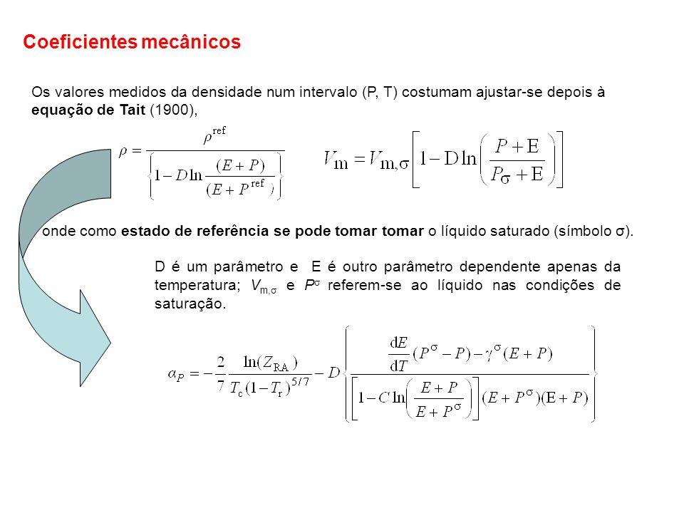 Os valores medidos da densidade num intervalo (P, T) costumam ajustar-se depois à equação de Tait (1900), onde como estado de referência se pode tomar
