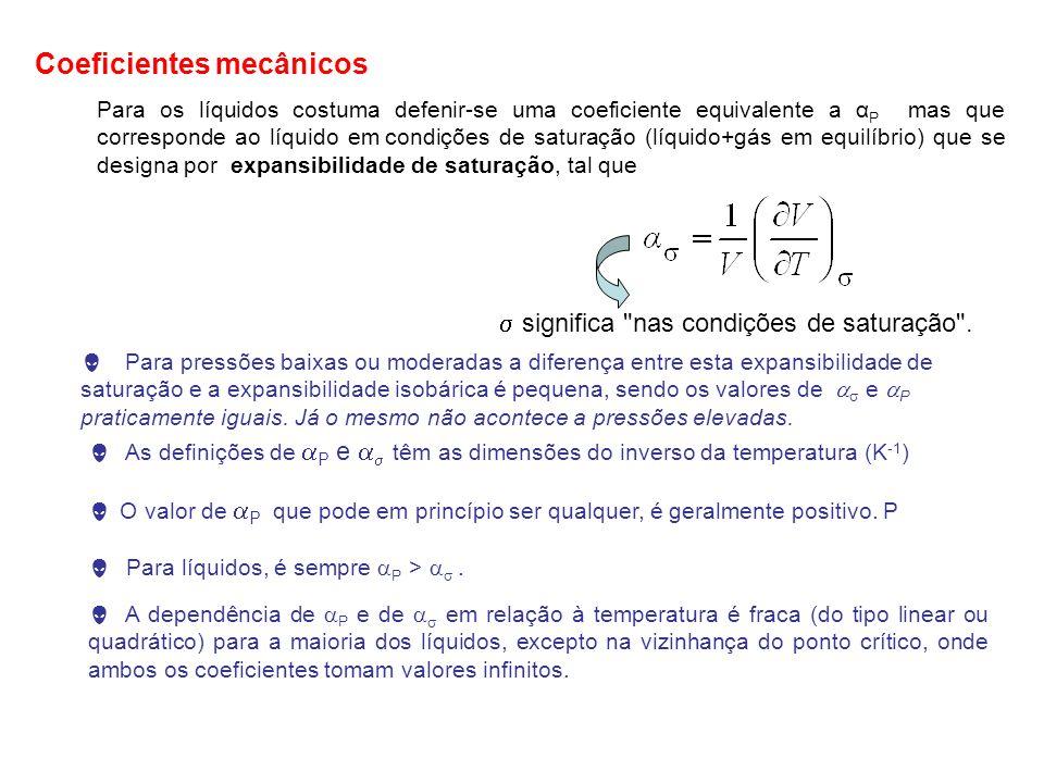 Para os líquidos costuma defenir-se uma coeficiente equivalente a α P mas que corresponde ao líquido em condições de saturação (líquido+gás em equilíb