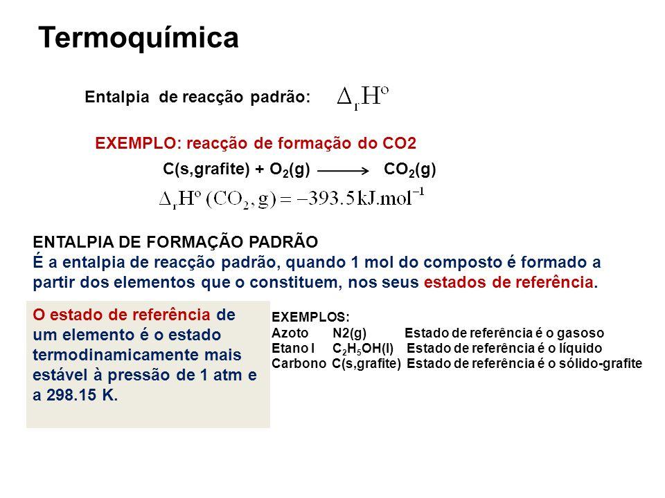 Termoquímica Entalpia de reacção padrão: C(s,grafite) + O 2 (g) CO 2 (g) ENTALPIA DE FORMAÇÃO PADRÃO É a entalpia de reacção padrão, quando 1 mol do c