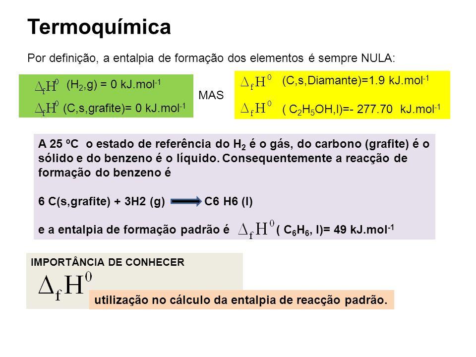(C,s,Diamante)=1.9 kJ.mol -1 ( C 2 H 5 OH,l)=- 277.70 kJ.mol -1 Termoquímica Por definição, a entalpia de formação dos elementos é sempre NULA: A 25 º