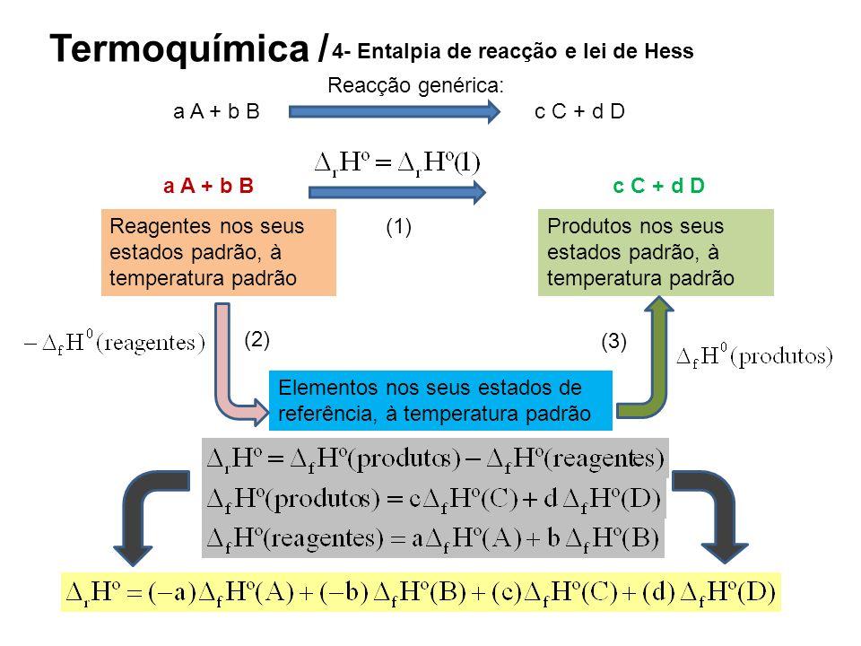 Termoquímica / 4- Entalpia de reacção e lei de Hess Reagentes nos seus estados padrão, à temperatura padrão Produtos nos seus estados padrão, à temper