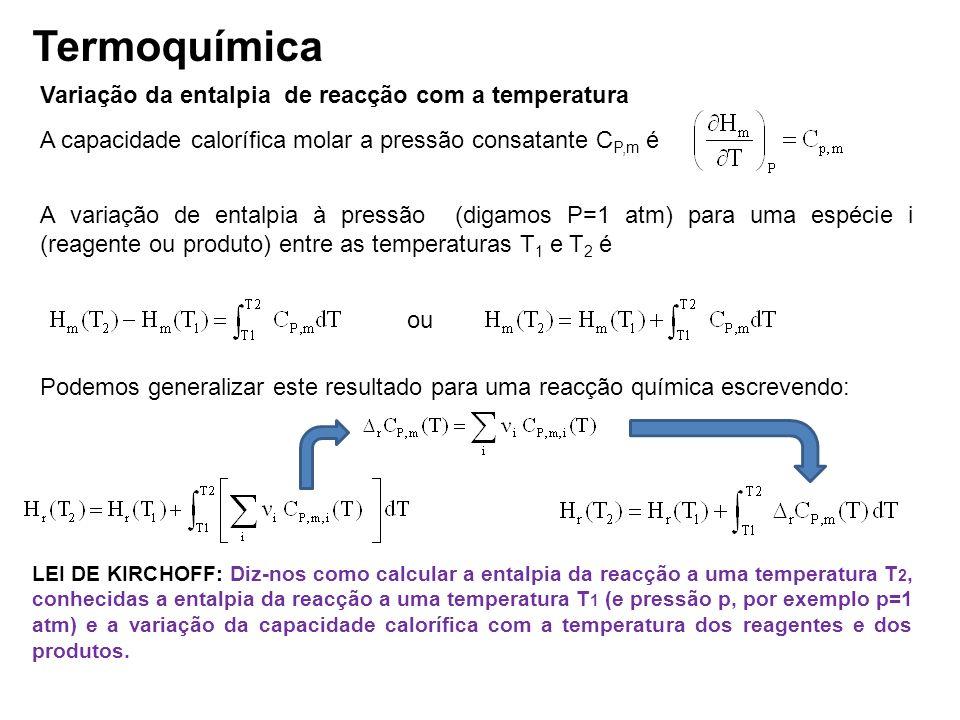 Termoquímica Variação da entalpia de reacção com a temperatura A capacidade calorífica molar a pressão consatante C P,m é A variação de entalpia à pre