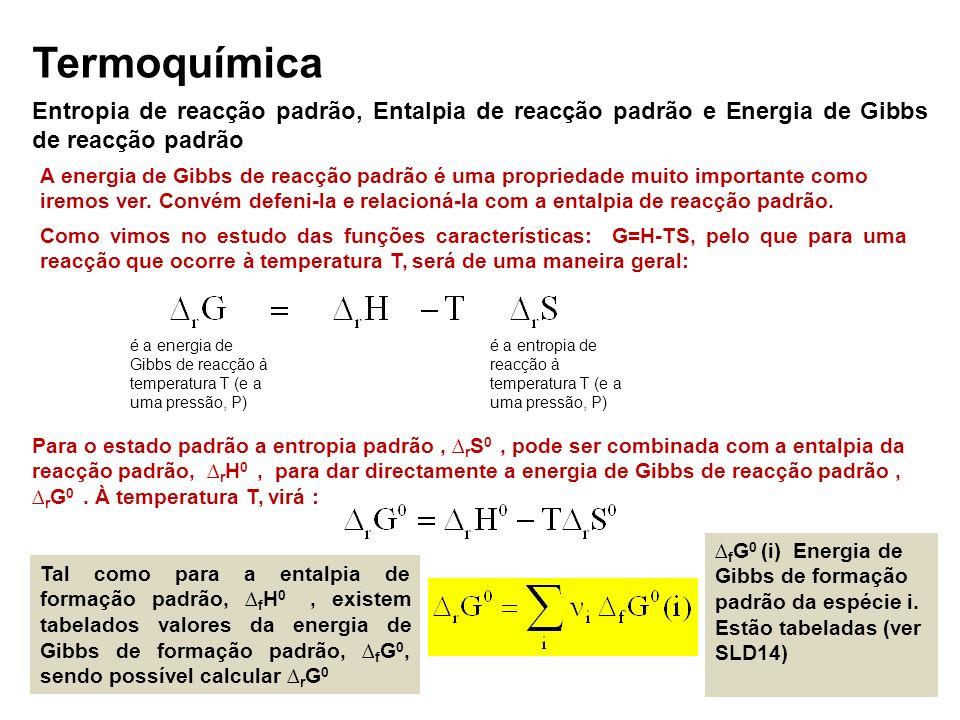 Termoquímica Entropia de reacção padrão, Entalpia de reacção padrão e Energia de Gibbs de reacção padrão A energia de Gibbs de reacção padrão é uma pr