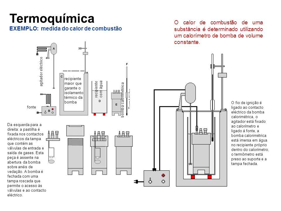Termoquímica EXEMPLO: medida do calor de combustão O calor de combustão de uma substância é determinado utilizando um calorímetro de bomba de volume c