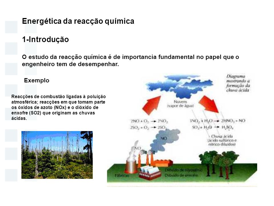 Energética da reacção química 1-Introdução Exemplo: Chuvas ácidas
