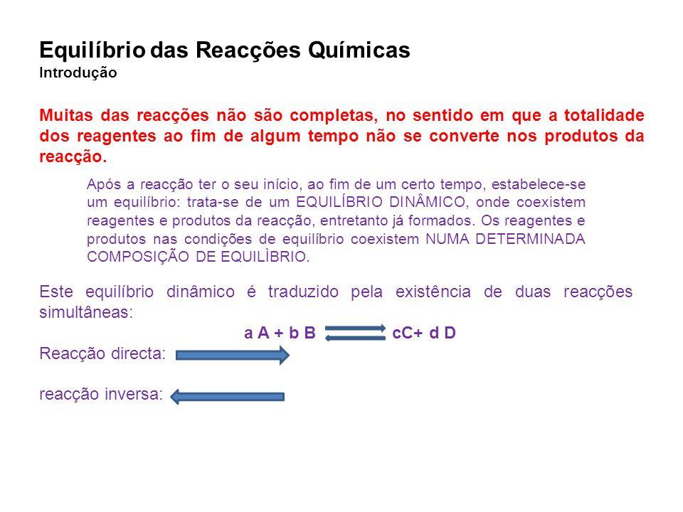 Equilíbrio das Reacções Químicas Introdução Muitas das reacções não são completas, no sentido em que a totalidade dos reagentes ao fim de algum tempo