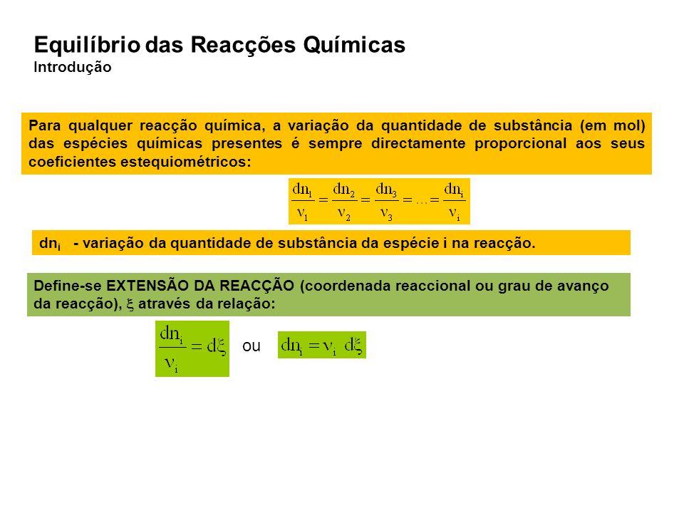 Para qualquer reacção química, a variação da quantidade de substância (em mol) das espécies químicas presentes é sempre directamente proporcional aos