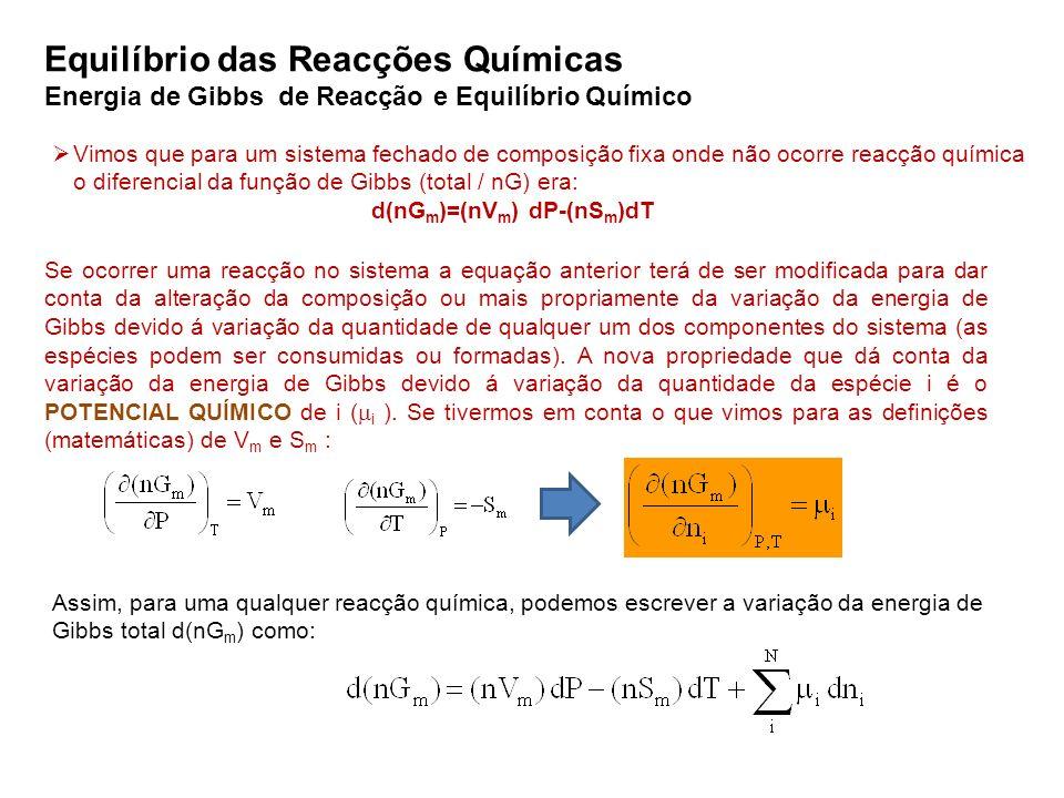 Energia de Gibbs de Reacção e Equilíbrio Químico Vimos que para um sistema fechado de composição fixa onde não ocorre reacção química o diferencial da