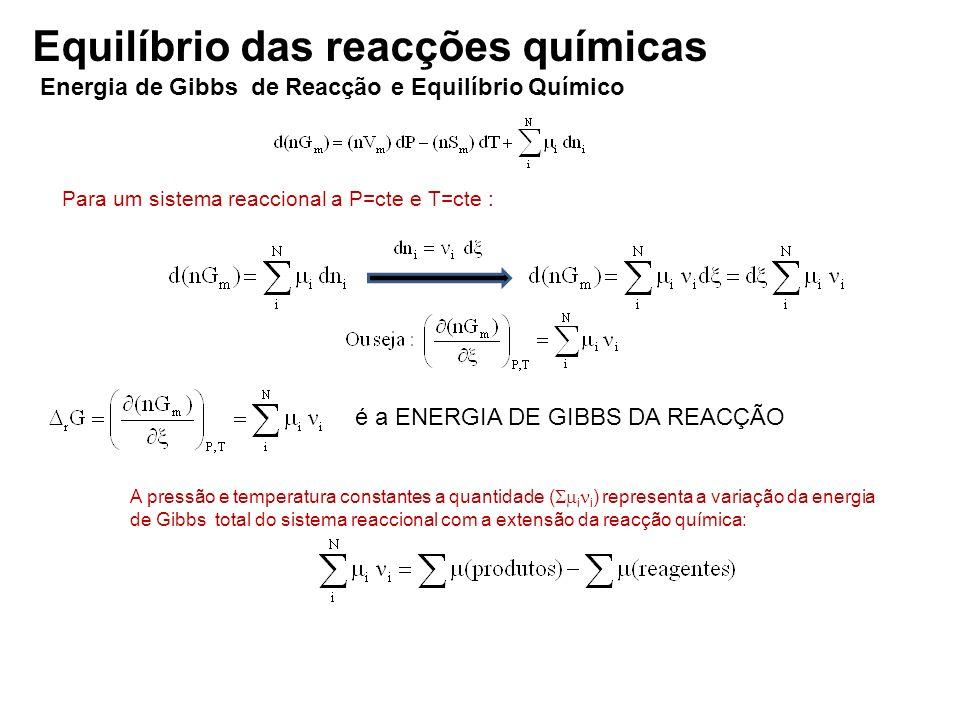 Para um sistema reaccional a P=cte e T=cte : é a ENERGIA DE GIBBS DA REACÇÃO A pressão e temperatura constantes a quantidade ( i i ) representa a vari