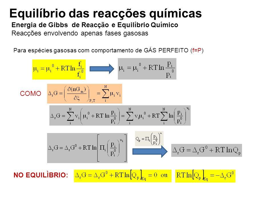 Energia de Gibbs de Reacção e Equilíbrio Químico Reacções envolvendo apenas fases gasosas Para espécies gasosas com comportamento de GÁS PERFEITO (f=P