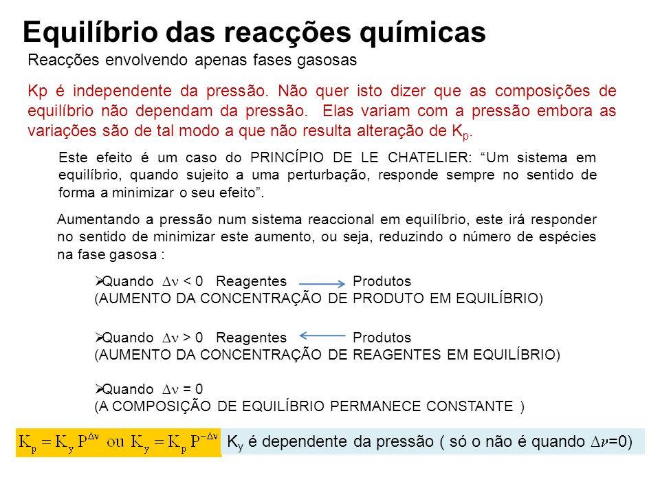 Reacções envolvendo apenas fases gasosas Equilíbrio das reacções químicas Kp é independente da pressão. Não quer isto dizer que as composições de equi