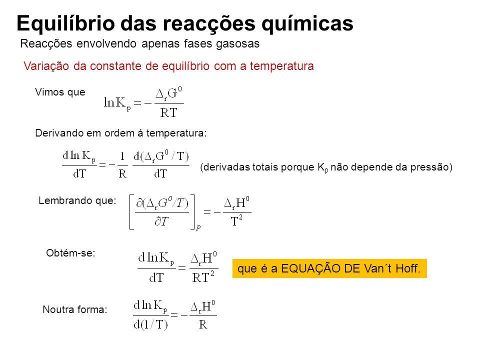 Reacções envolvendo apenas fases gasosas Equilíbrio das reacções químicas Variação da constante de equilíbrio com a temperatura Vimos que Derivando em