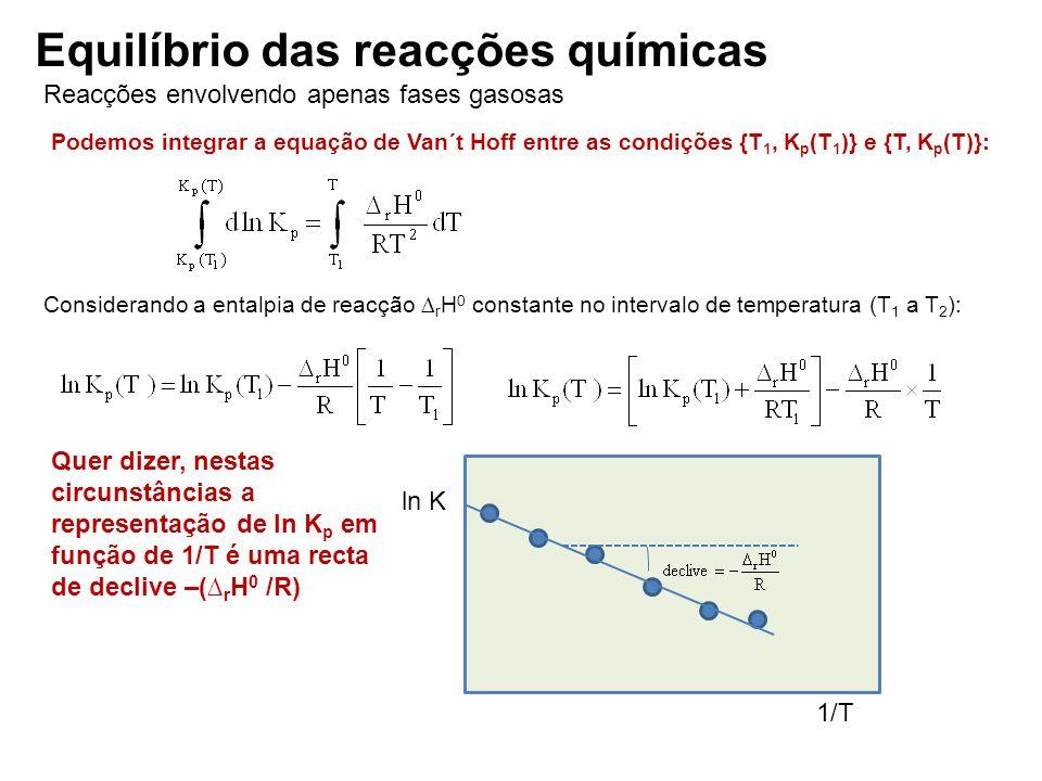 Reacções envolvendo apenas fases gasosas Equilíbrio das reacções químicas Podemos integrar a equação de Van´t Hoff entre as condições {T 1, K p (T 1 )