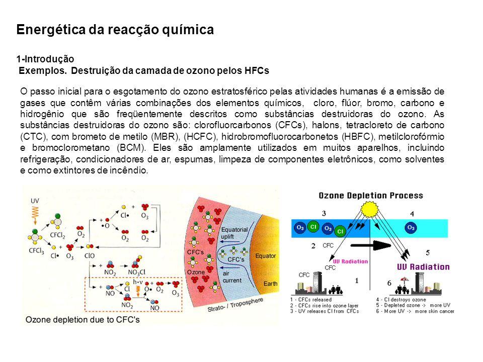 Energética da reacção química 1-Introdução Exemplos. Destruição da camada de ozono pelos HFCs O passo inicial para o esgotamento do ozono estratosféri