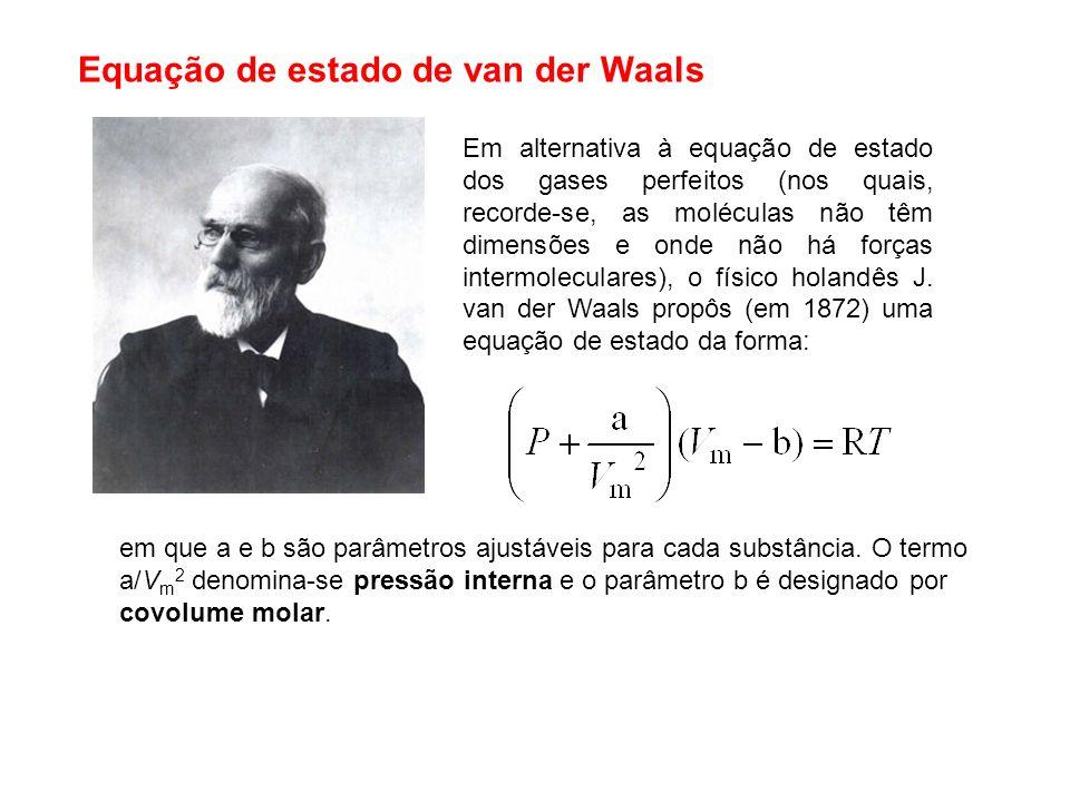 Equação de estado de van der Waals Em alternativa à equação de estado dos gases perfeitos (nos quais, recorde-se, as moléculas não têm dimensões e ond